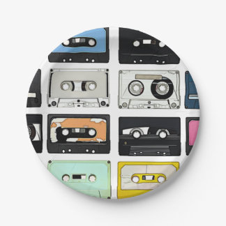 Retro vintage Cassette Mix Tapes art pattern 7 Inch Paper Plate