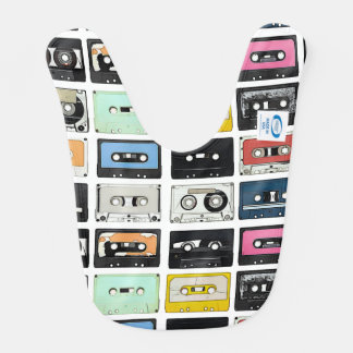 Retro vintage Cassette Mix Tapes art pattern Bib