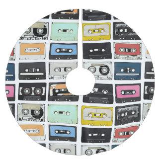 Retro vintage Cassette Mix Tapes art pattern Brushed Polyester Tree Skirt
