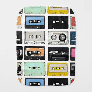 Retro vintage Cassette Mix Tapes art pattern Burp Cloth