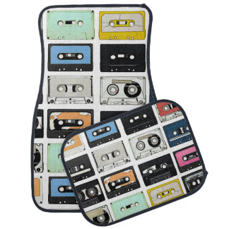 Retro vintage Cassette Mix Tapes art pattern Car Mat