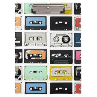 Retro vintage Cassette Mix Tapes art pattern Clipboard