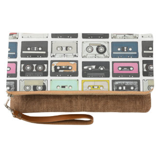 Retro vintage Cassette Mix Tapes art pattern Clutch