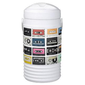 Retro vintage Cassette Mix Tapes art pattern Drinks Cooler