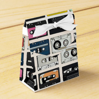Retro vintage Cassette Mix Tapes art pattern Favor Box