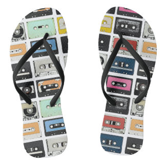 Retro vintage Cassette Mix Tapes art pattern Flip Flops