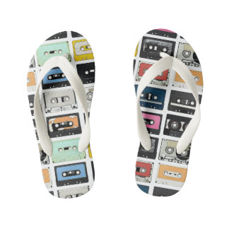 Retro vintage Cassette Mix Tapes art pattern Kid's Flip Flops
