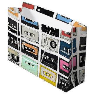 Retro vintage Cassette Mix Tapes art pattern Large Gift Bag