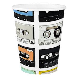 Retro vintage Cassette Mix Tapes art pattern Paper Cup
