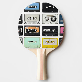 Retro vintage Cassette Mix Tapes art pattern Ping Pong Paddle