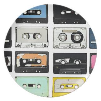 Retro vintage Cassette Mix Tapes art pattern Plate