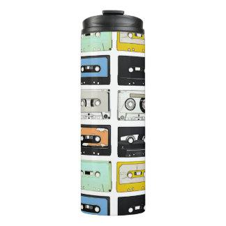 Retro vintage Cassette Mix Tapes art pattern Thermal Tumbler