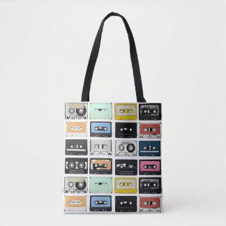 Retro vintage Cassette Mix Tapes art pattern Tote Bag