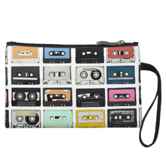 Retro vintage Cassette Mix Tapes art pattern Wristlet