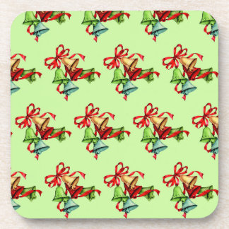 Retro Vintage Christmas Bells Coasters