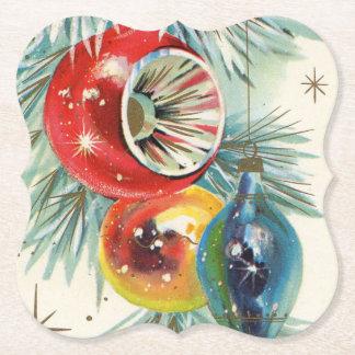 Retro Vintage Christmas bulbs party coaster