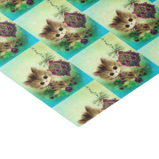 Retro Vintage Christmas cat Holiday party tissue Tissue Paper