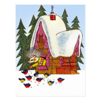 Retro Vintage Christmas , Hedgehog's cottage Postcard