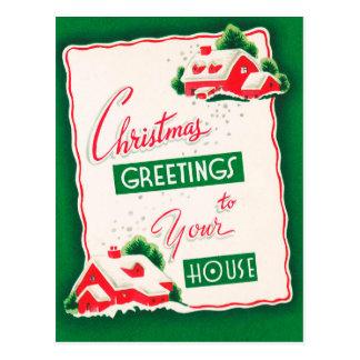 Retro Vintage Christmas Holiday home postcard