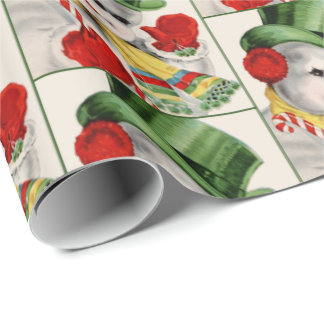 Retro Vintage Christmas Holiday snowman party wrap Wrapping Paper