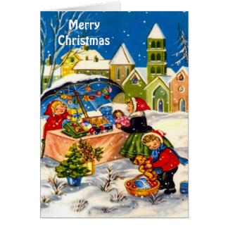 Retro Vintage Christmas market Card