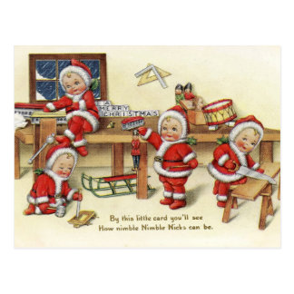 Retro Vintage Christmas NicksHoliday postcard