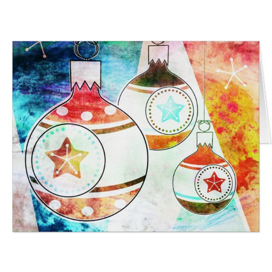 Retro Vintage Christmas Ornaments Card