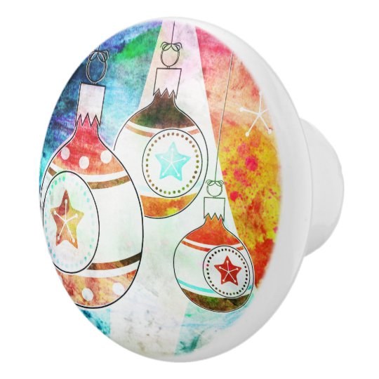 Retro Vintage Christmas Ornaments Ceramic Knob