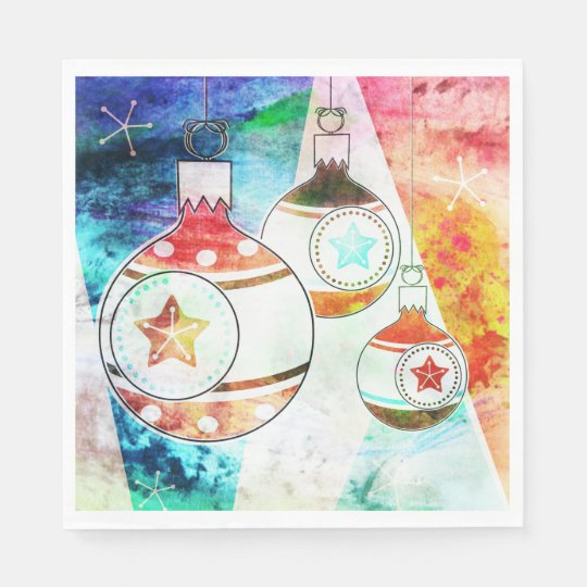 Retro Vintage Christmas Ornaments Disposable Napkin