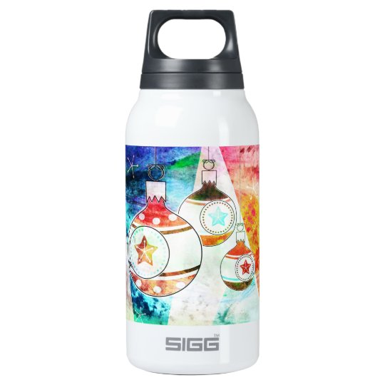 Retro Vintage Christmas Ornaments Insulated Water Bottle