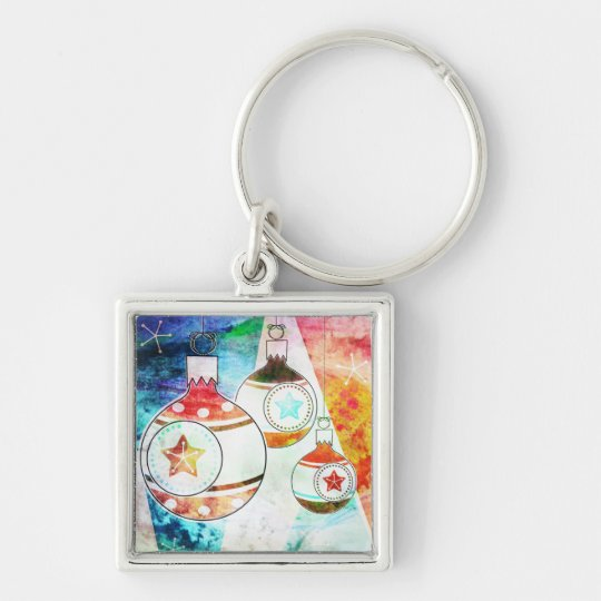 Retro Vintage Christmas Ornaments Keychain