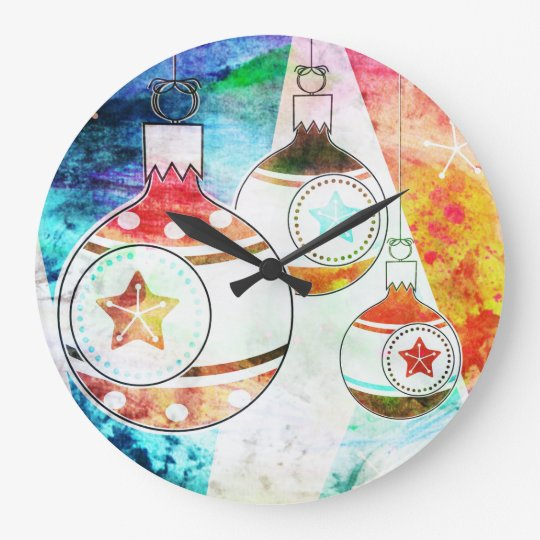 Retro Vintage Christmas Ornaments Large Clock
