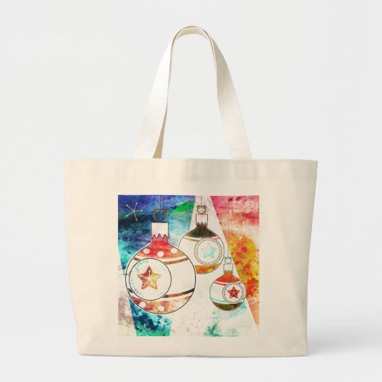 Retro Vintage Christmas Ornaments Large Tote Bag