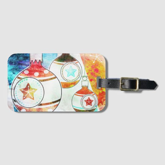 Retro Vintage Christmas Ornaments Luggage Tag