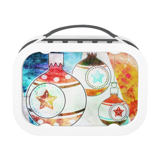 Retro Vintage Christmas Ornaments Lunch Box