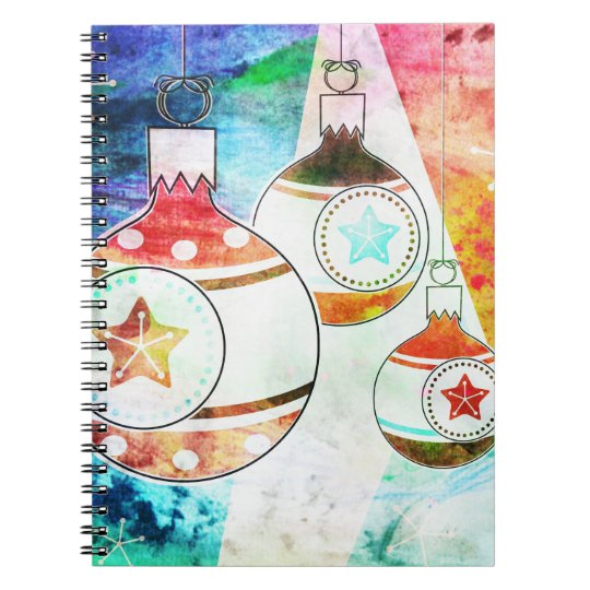 Retro Vintage Christmas Ornaments Notebook