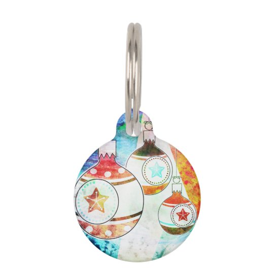 Retro Vintage Christmas Ornaments Pet Tag