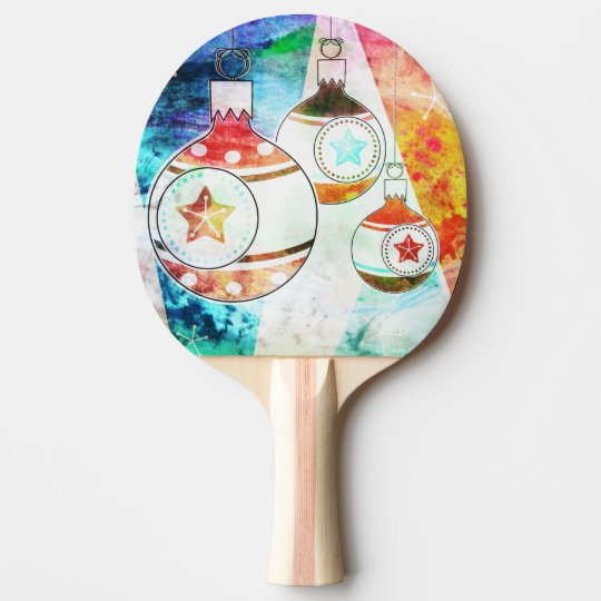 Retro Vintage Christmas Ornaments Ping Pong Paddle