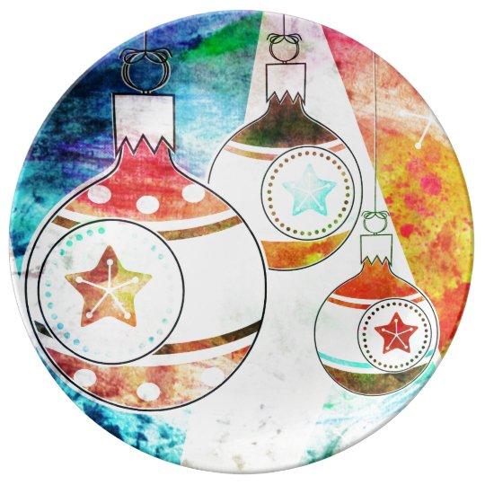 Retro Vintage Christmas Ornaments Plate