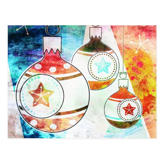 Retro Vintage Christmas Ornaments Postcard
