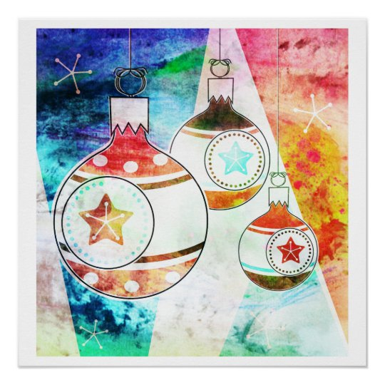 Retro Vintage Christmas Ornaments Poster