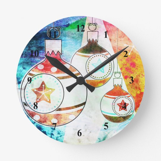 Retro Vintage Christmas Ornaments Round Clock