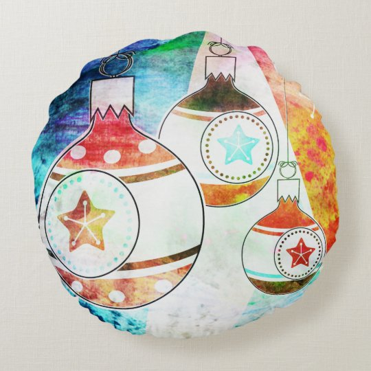 Retro Vintage Christmas Ornaments Round Pillow