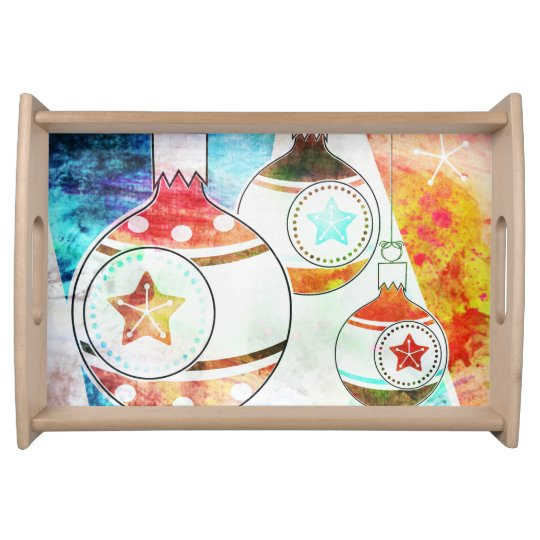 Retro Vintage Christmas Ornaments Serving Tray