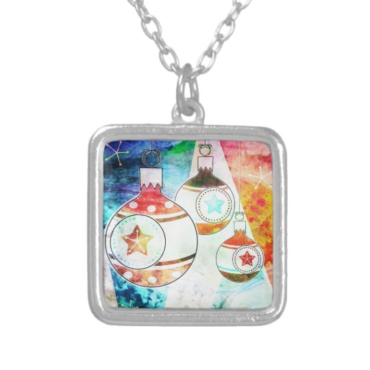 Retro Vintage Christmas Ornaments Silver Plated Necklace