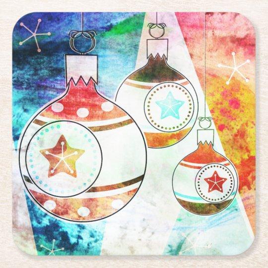 Retro Vintage Christmas Ornaments Square Paper Coaster
