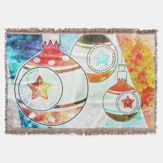 Retro Vintage Christmas Ornaments Throw Blanket