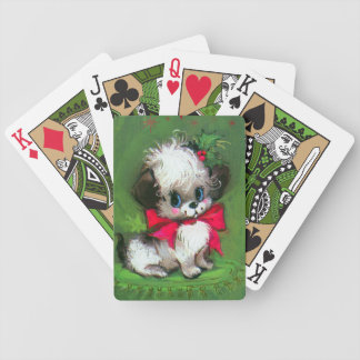 Retro Vintage Christmas puppy Holiday playing card