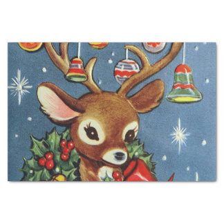 retro Vintage Christmas reindeer Holiday tissue Tissue Paper