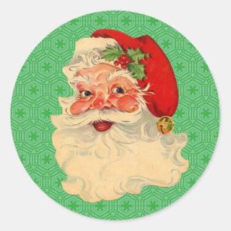 Retro Vintage Christmas Santa Claus Face Stickers
